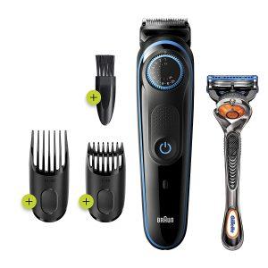 Braun Beard Trimmer BT5240, Beard Trimmer for Men and Hair Clipper, 39 Length Settings, Black Blue