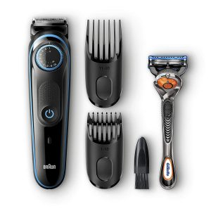 Braun Beard Trimmer & Hair Clipper, 2 Combs and Gillette ProGlide Razor Included, BeardTrimmer BT5040, 39 Length Settings with Precision Dial, Black or Blue