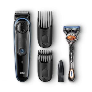 Braun BT3040 Beard Trimmer for Men, Cordless Hair Clipper, Black Blue, with Gillette ProGlide Razor