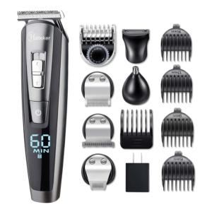 HATTEKER Beard Trimmer Kit For Men Cordless Mustache Trimmer Hair Trimmer Groomer Kit Precision Trimmer Nose Hair Trimmer Waterproof USB Rechargeable 5 In 1